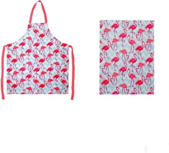Flamingo theedoek keukendoek + kookschort keukenschort thema dieren cadeaus keukentextiel