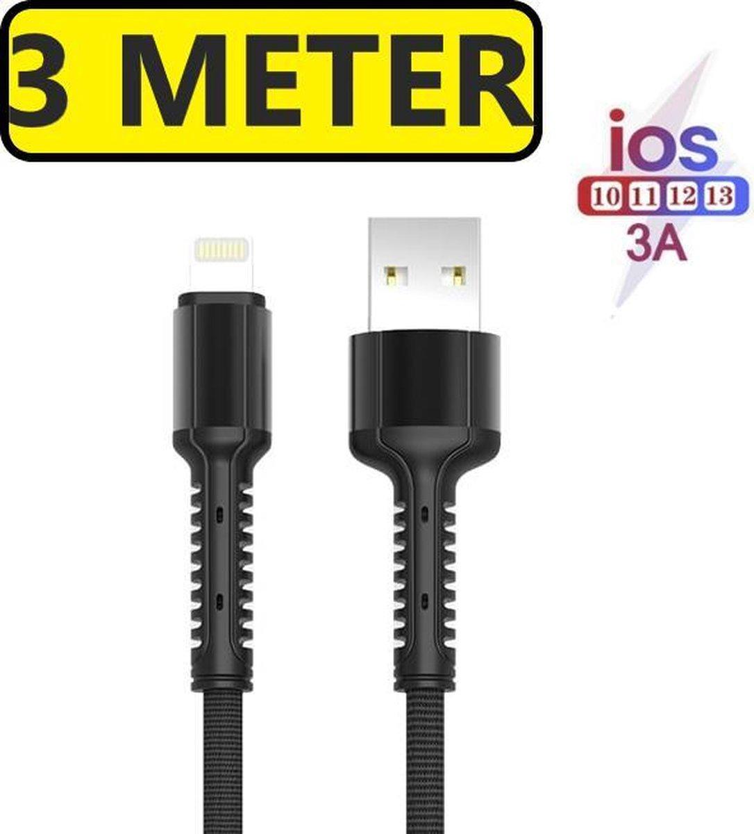 Extra Lange iPhone oplader kabel geschikt voor Apple iPhone 6,7,8,X,XS,XR,11,12,Mini,Pro Max - iPhone kabel - iPhone oplaadkabel - iPhone snoertje - iPhone lader
