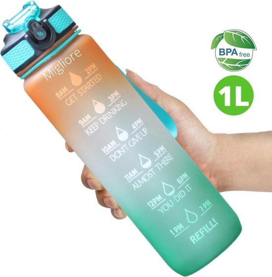 Migliore Waterfles 1 Liter - Met Rietje - Motivatie - Bidon - 1 Liter - Sportdrankfles - Grote Waterfles - Tijdmarkering - Waterjug - Groen - Oranje