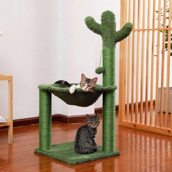 Grote Cactus Krabpaal voor Katten - Met Zachte Kattenmand/Hangmat & Kattenspeelgoed - 93 CM