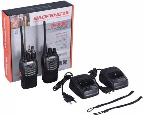 Twee Baofeng Walkie Talkies - 5 km Bereik - 8u Stand-by - 2x Headset, Accu, Oplader, Antenne & Riemclip - 400-470 Mhz