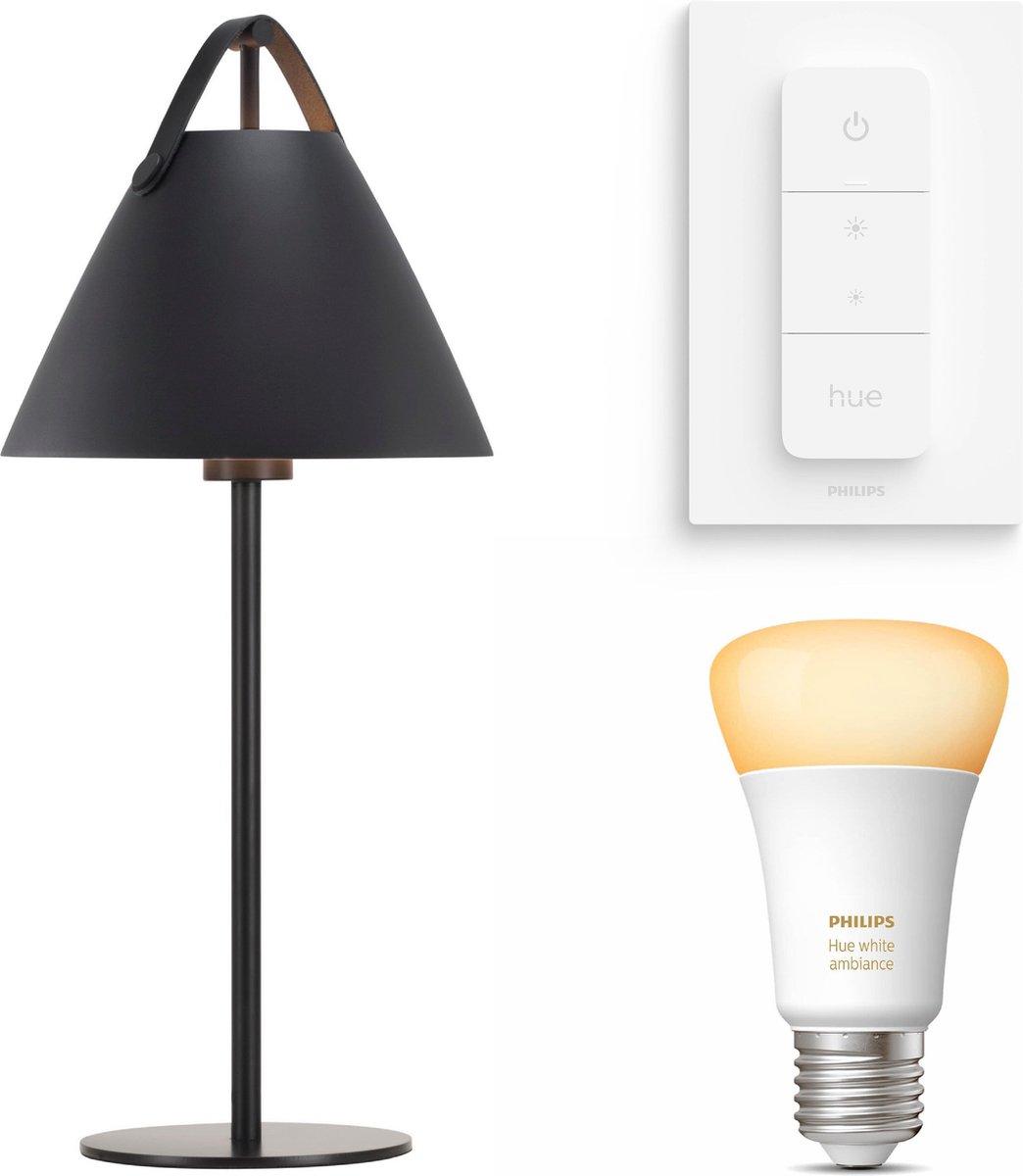 Nordlux Strap tafellamp - zwart - 1 lichtpunt - Incl. Philips Hue White Ambiance E27 & dimmer