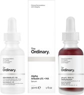 The Ordinary | duo  set | Tegen onzuiverheden | Voor een strakke huid | Egale huid | pigmentvlekken verwijderen | Alpha Arbutin 2% + HA 30ml | AHA 30% + BHA 2% Peeling Solution 30ml