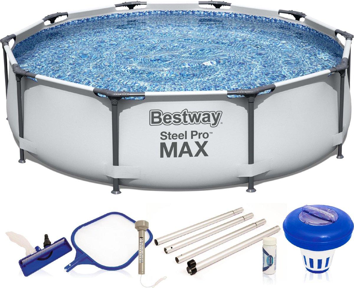 Bestway Zwembad Steel Pro Max 56406 - FrameLink Systeem - 305 x 76 cm - Incl. Schoonmaakset