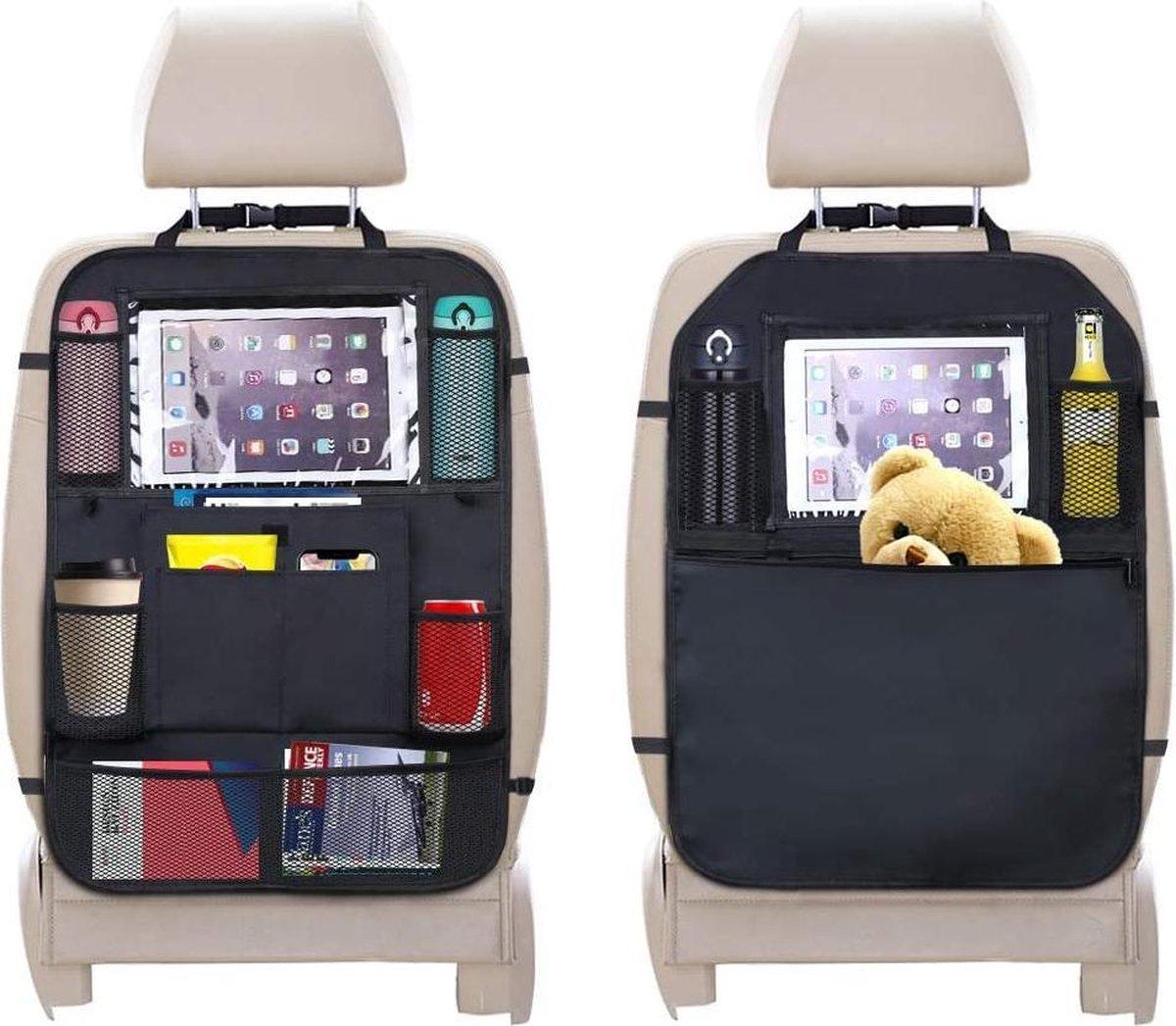 Autostoelbeschermer, 2 stuks achterbank-organizer voor kinderen, doorzichtige iPad tablethouder, autostoelbeschermer, waterdicht, kick-matten, bescherming in universele pasvorm
