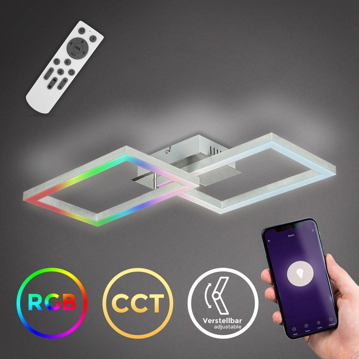 B.K.Licht - Slimme LED FRAME lamp - Plafondlamp smart - 38x50 cm - WiFi Plafonière - CCT - 2500-6500 Kelvin - RGB - app en afstandsbediening - dimbaar - 30 Watt - Chroom-Aluminium