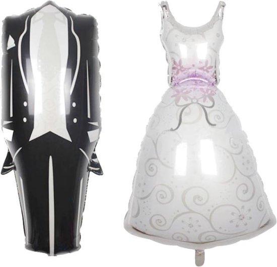 Bruidspaar ballonnen - XL - 88x38cm - Ballon - Huwelijk - Trouwen - Trouwerij - Huwelijksfeest - Jubileum - Vrijgezellenfeest - set van 2 - Folie ballon -Leeg - Bruidegom - Bruid - Love - Bruiloft