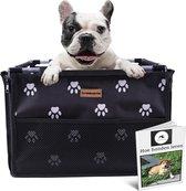 Luxe Autostoel hond pootjes patroon - Inclusief opbergtas en E-Book - Reisbench hond - Hondenmand auto - Autobench voor hond - Hondenstoel auto