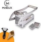 MAEUX® Frietsnijder - Patatsnijder - Fritessnijder - Roestvrijstaal - Inclusief dunschiller en frietzakken - Met handleiding - Grijs