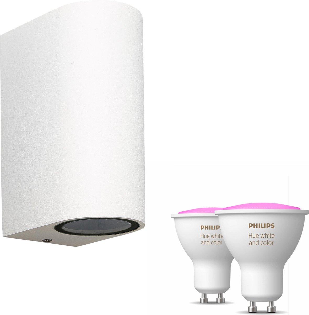 Mantra Kandachu wandlamp rond - wit - 2 lichtpunten - Incl. Philips Hue White & Color Ambiance Gu10 (geschikt voor buitengebruik)