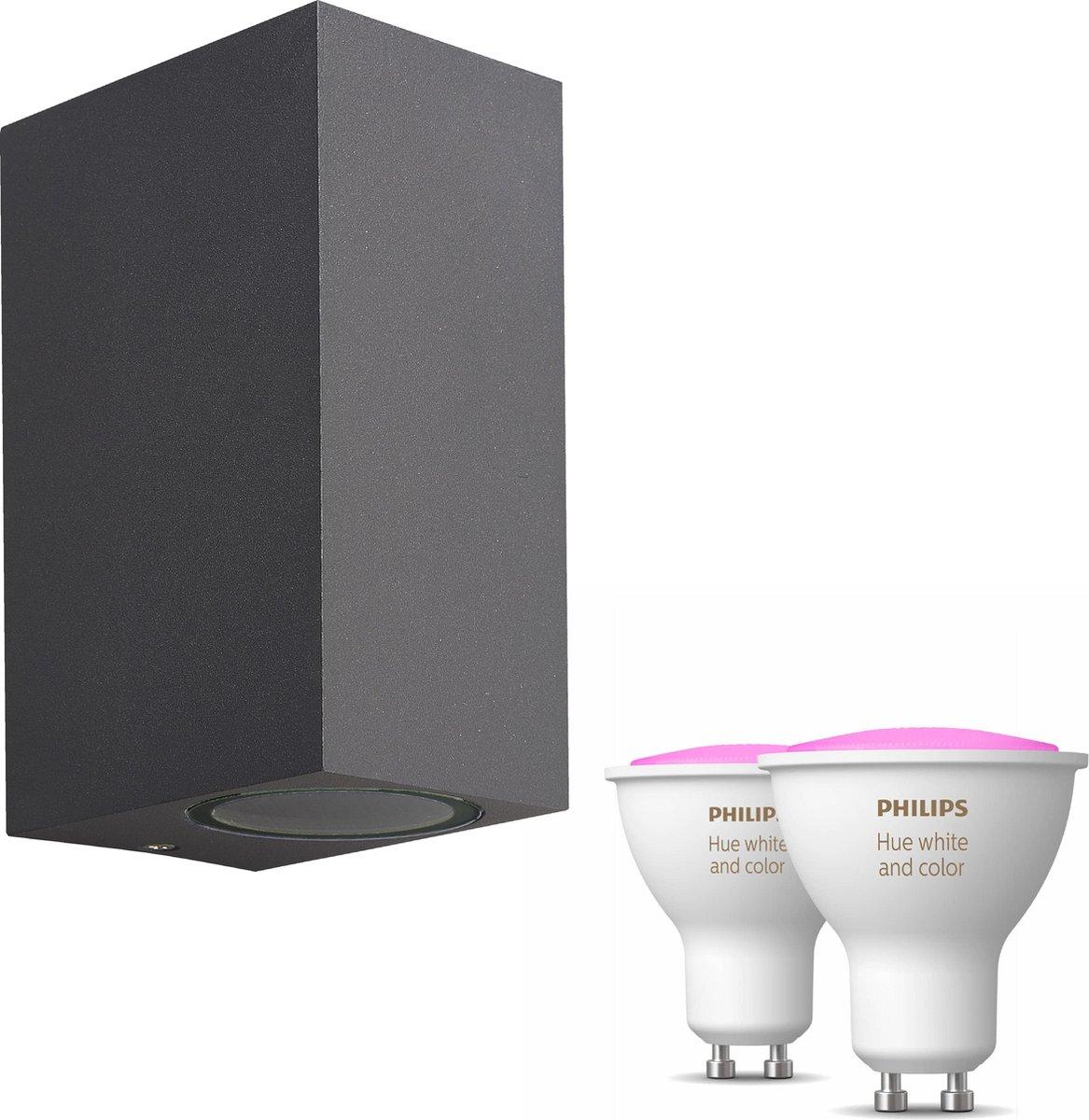 Mantra Kandachu wandlamp rechthoekig - antraciet - 2 lichtpunten - Incl. Philips Hue White & Color Ambiance Gu10 (geschikt voor buitengebruik)