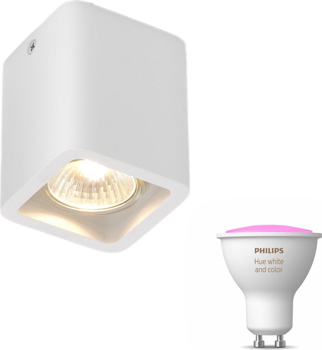 Artdelight Mona opbouwspot - wit - 1 lichtpunt - Incl. Philips Hue White & Color Ambiance Gu10