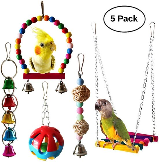 Vogelkooi Vogel Speelgoed Set 5 stuks - Vogelschommel - Ladder - Bal met bel - Parkieten Speelgoed