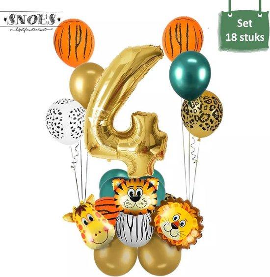 Dieren Ballon Pakket * 4 Jaar * Jungle Ballon * Dieren Feest * Jungle Feest * Verjaardag Feest * Hoera 4 Jaar * Gefeliciteerd * Kinderfeestje * Jungle Party * Snoes