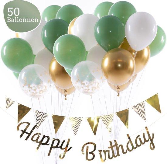 Olijfgroene Ballonnen Verjaardag & Versiering Set – Incl. Happy Birthday Slinger, Vlaggenlijn, Lint, Plakkers en 50 Ballonnen – Kant en Klaar Feest Pakket
