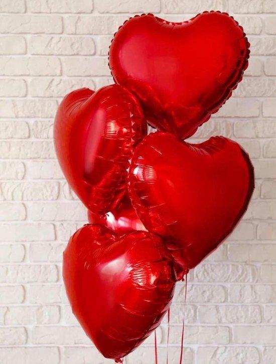 hartvormige ballonnen, folieballonnen, hartvorm, heliumballonnen, hartvormige ballonnen, voor verjaardag, Valentijnsdag, bruiloft, verloving (rood hart)