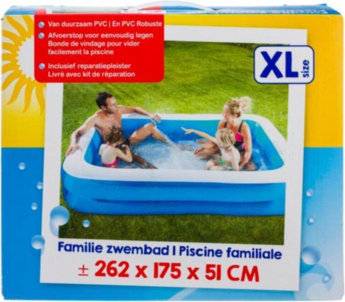 familie zwembad XL size 262 x 175 x 51 met XL size afdekzeil geschikt voor 262 x 175 x 51cm