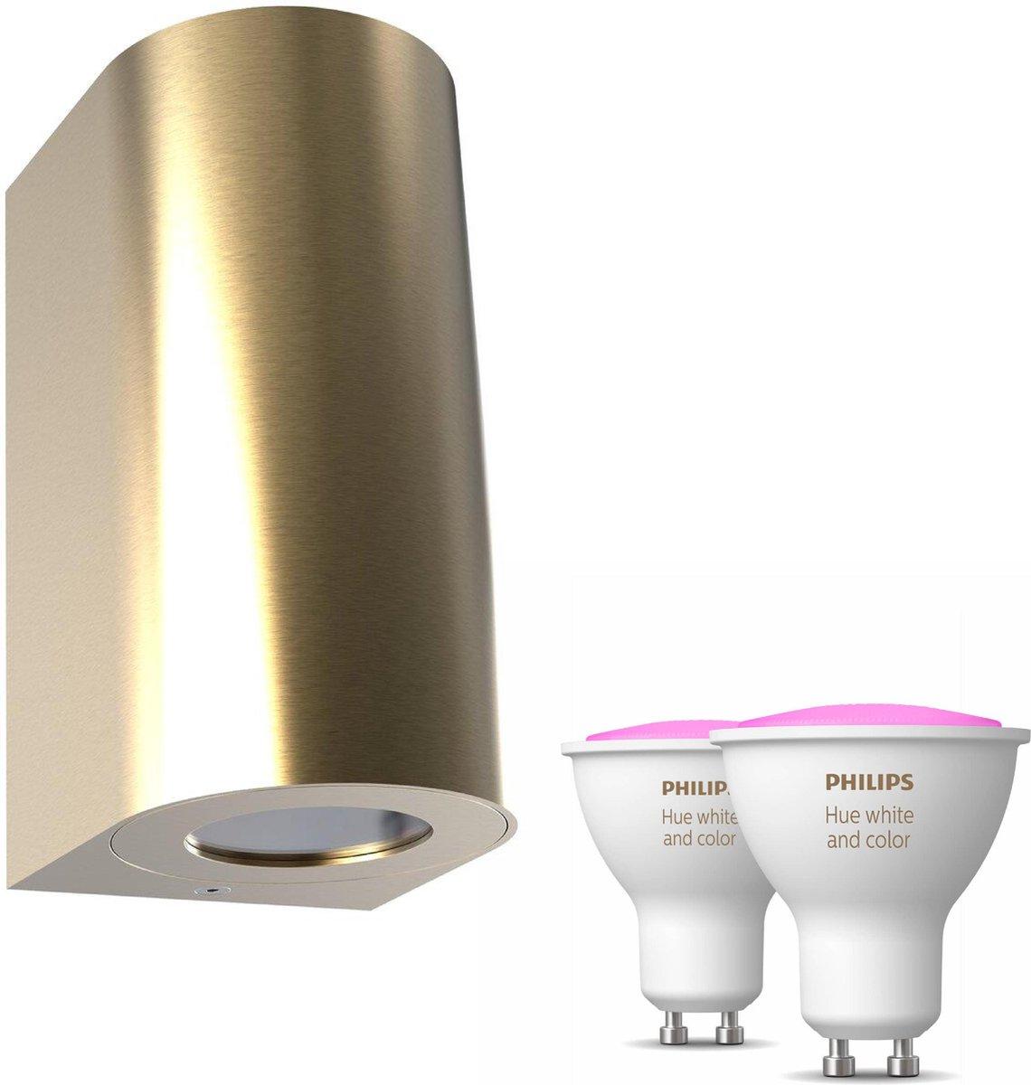 Nordlux Canto maxi 2 wandlamp - goud - 2 lichtpunten - Incl. Philips Hue White & Color Ambiance Gu10 (geschikt voor buitengebruik)