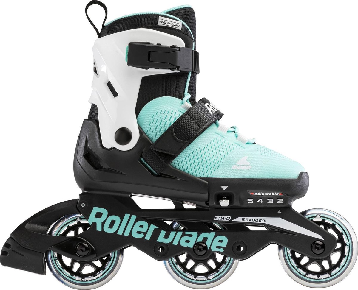 Rollerblade Microblade 3WD Inlineskates - Maat 33-36 - Unisex - zwart - mint groen - wit