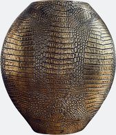 Light & Living Vaas - Skeld S - Goud - 29,5x8x31,5cm - Schild Vazen - Krokodillen Vaas - Antiek Brons - Schildpad vaas Dierenprint - Croco