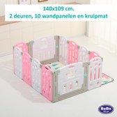 Grondbox, kruipbox, speelbox, playpen, baby, peuter en kind roze/wit 10+2