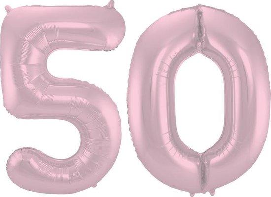 Cijfer 50 Pastel Roze Metallic Mat – 86 cm