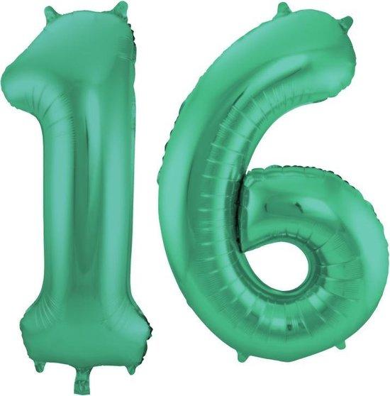 Cijfer 16 Groen Metallic Mat - 86 cm