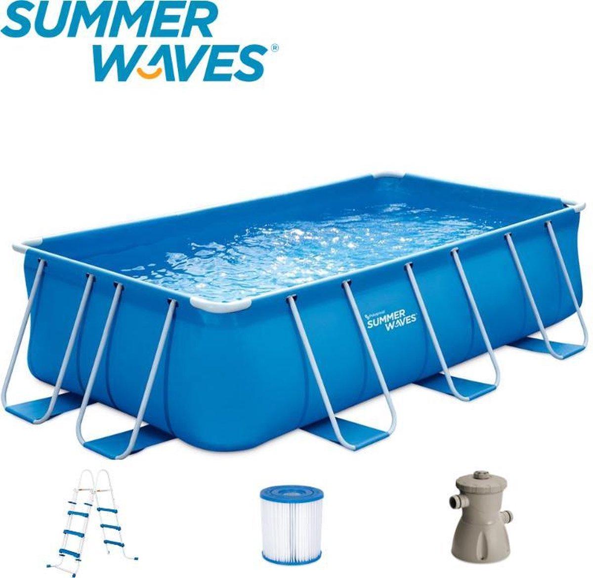 Summer Waves Frame Zwembad   Ø 400x cm x 213 x 100 cm   Inclusief Filterpomp   Inclusief Trap   Blauw
