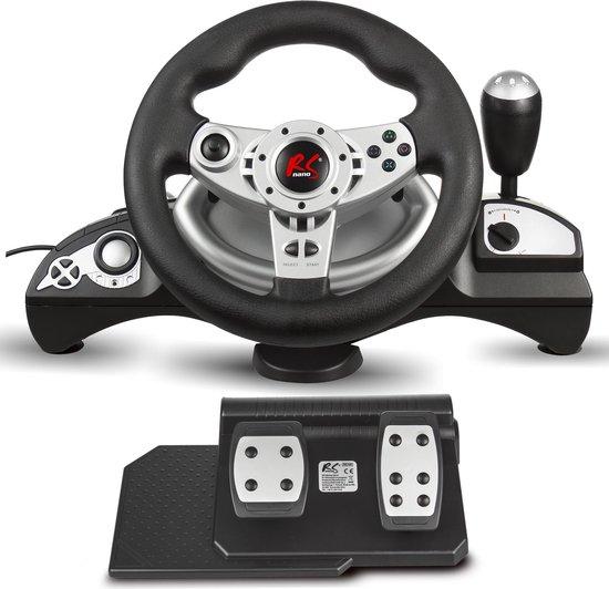 Gaming racestuur 270 ° stuurbereik versnellingspook gas- en rempedaaltrillingen 8 in 1 stuur Compatibel met PS4 / PS3 / Xbox ONE / Xbox360 / PC (X-Input / D-Input) / Switch / Android