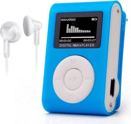 MP3 Speler - MP3 Speler inclusief Oordopjes - MP3 16GB Geheugen - MP3 Speler Blauw
