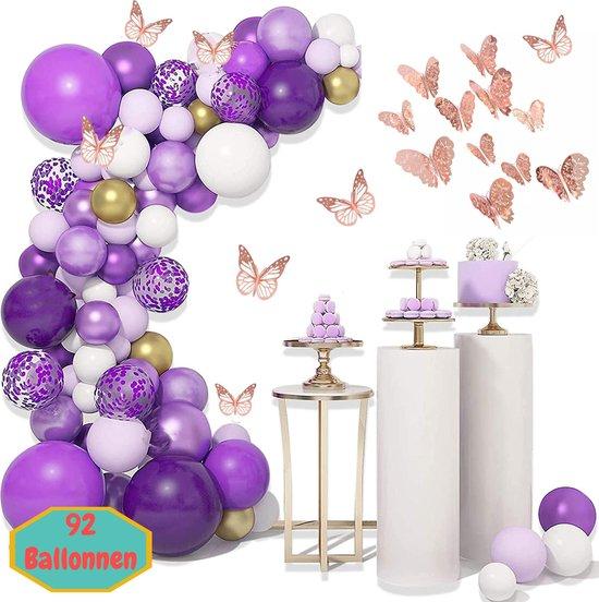 Baloba® Ballonnenboog Paars, Roze, Wit & gouden ballonnen – 12 stuks 3D Vlinders - Feest Versiering Pakket - Verjaardag Bruiloft Decoratie - 92 Ballonnen