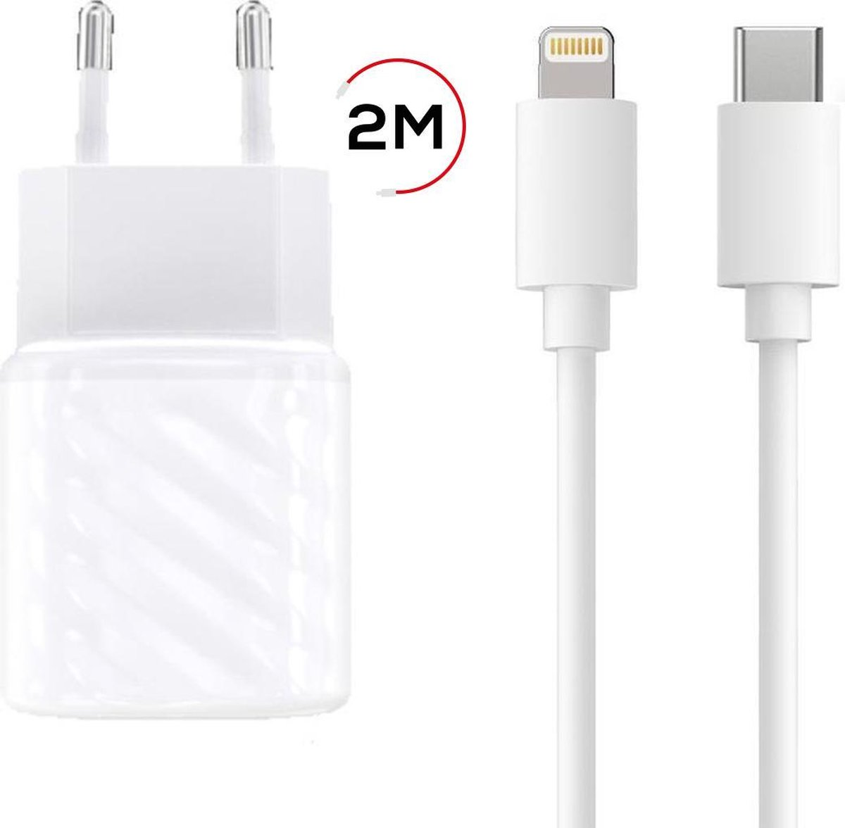 iPhone Oplader incl. 2 Meter oplader kabel - Razendsnelle 20W iPhone lader o.a. geschikt voor Apple iPhone 12 / iPhone 12 Mini / iPhone 12 pro / iPhone 12 Pro Max
