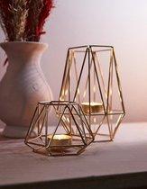 Moderne Hexagon Waxinelichthouders Goud – Theelichthouder Set