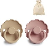 FRIGG   Fopspeen Duo   T1   0-6 maanden   Daisy   Natuurrubber   Blush + Croissant   Met YOURMUSTHAVES speenzakje