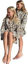 Kinderbadjas tijger print bruintinten– 100% flanel fleece – badjas kind luipaard – Badrock kindermodel – fleecebadjas kind - maat L(9-10jaar) - 134-140