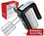 Chefday Handmixer met 5 standen en Turbo functie - Extra Krachtig 500W - Incl. Klopgardes & Kneedhaken - RVS - Compacte mixer - Keukenmachine