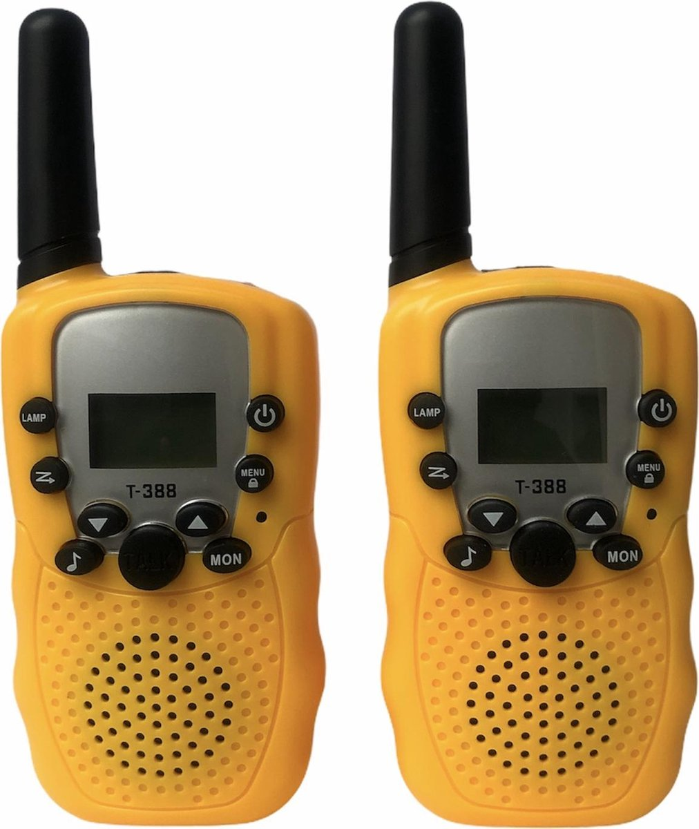Walkie Talkie set voor kinderen & volwassenen - 6KM bereik - portofoon - 2 stuks - geel - inclusief 8 batterijen - indoor/outdoor