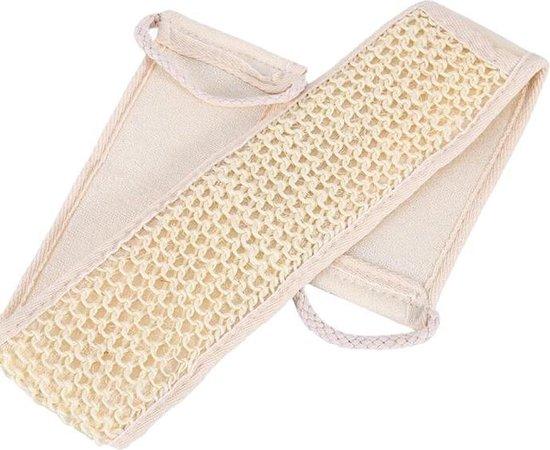 Loofah baddoek - Lichaamsborstel - Badspons - Scrubmassage - Rug - Beige - Schrubriem - Badborstel - Spons -handschoen - Massage handdoeken - 68 cm - Wit