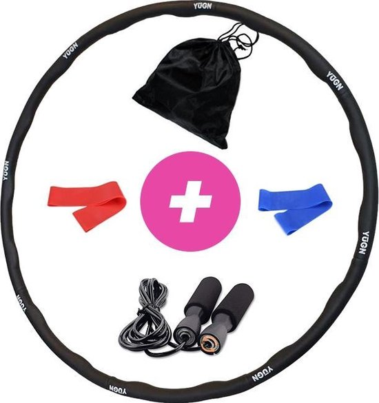 YUGN Vitality Hoelahoep Fitness Set - Inclusief Springtouw en 2 Resistance Bands en Meeneem Zak - Hula Hoop Fitness Voor Makkelijke Vetverbranding - Hoelahoep Met Gewicht 1.2 kg
