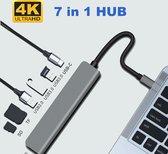 LuxeLeague 7 IN 1 USB HUB - USB C HUB - USB C HUB. - USB C ADAPTER - MacBook Dock - Multifunctionele Adapter - 3X USB - 4K HDMI OUTPUT - USB C - SD/TF Kaartlezer - 47g - Donker Grijs