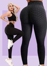 TikTok Shape Legging - TikTok Legging - TikTok kleding - Gym of Thuis legging - Anti Cellulite - High Waist - comfortabel - Zwart - Peach Shape Legging - Maat S