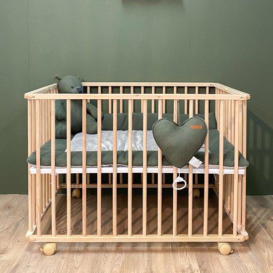 Product: Cabino Babybox Inklapbaar Met In Hoogte Verstelbare Bodem - Kinderbox - Babybox Met Wielen - Beech, van het merk cabino