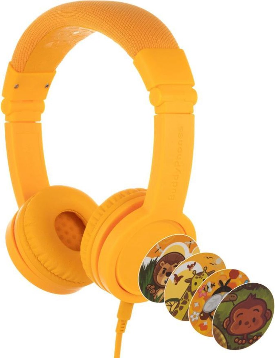 BuddyPhones Explore+ - kindvriendelijke on-ear koptelefoon - geluidsbegrenzing, audio splitter, meegeleverde stickers, geel