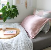 Mori Concept - Essential zijden kussensloop - 50x75 - Lichtroze - 100% Moerbei zijde Voorkant - Mulberry Silk Pillowcase