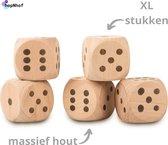 Dobbelspel Hout - XL dobbelstenen - 5 stuks