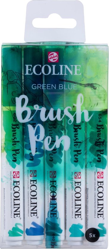 Talens Ecoline 5 brush pens ''Green Blue''
