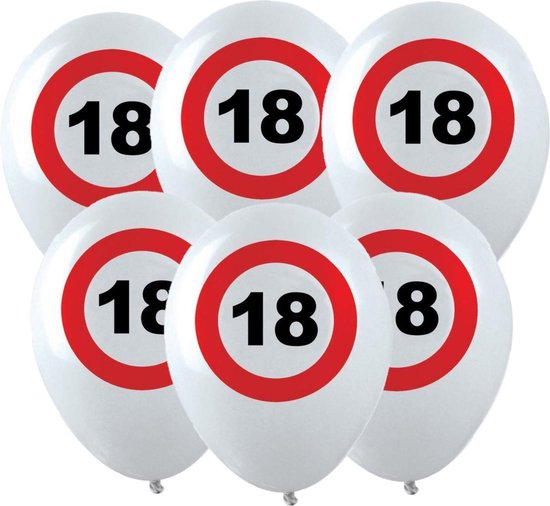 36x Leeftijd verjaardag ballonnen met 18 jaar stopbord opdruk 28 cm