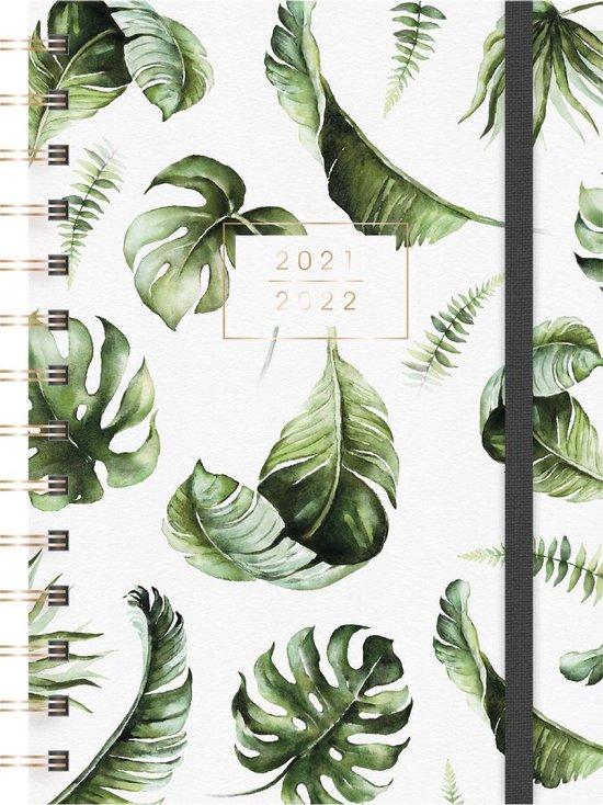 Afbeelding van Hobbit schoolagenda 2021-2022 - SPIRAAL MEDIUM D3 - ringband -  elastieken band - 7 dagen over 2 paginas - flexibele cover - 144 paginas - groen bladeren - iets kleiner dan A5 formaat