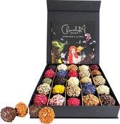 De mooiste doos chocolade van Nederland. Handgemaakt assortiment van bonbons, truffels en pralines. Waanzinnig ingepakt met luxe smaakbrochures. Verjaardag of feest dit is het lekkerste cadeau! - Geruba - ChocolaDNA (25 stuks)