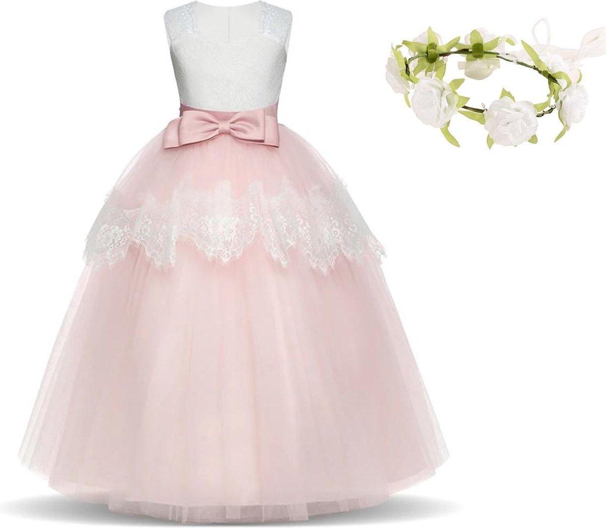 Communie jurk Bruidsmeisjes jurk roze wit Classic Deluxe 122-128 (130) prinsessen jurk feestjurk + b